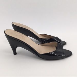 PRADA Black Patent Leather Open Toe Kitten Heels